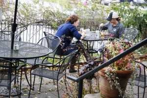 The outdoor patio at Proper overlooks downtown Boone. Photo by Ken Ketchie, High Country Press.