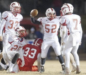 JON C. LAKEY / SALISBURY POST East Rowan's Trent Townley (52) came up with the fumble recovery.