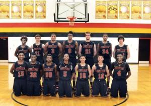 Salisbury High Boys Basketball team Front Row:  Ray Mashore #15, Cameron Horne #32,  Shaquez Strickland #20, Deshawn Troutman #5, John Yang #10, Alex Yang #12, MJ Rayner #4  Back Row:  Shaleek Williams #1,  Will Leckonby #11, Donnell Alexander #3, Tre Oaks #0, Wesley Fazia #21, Zaedrian Harris #34. and Sam McNeely #22.   photo by Wayne Hinshaw, for the Salisbury Post