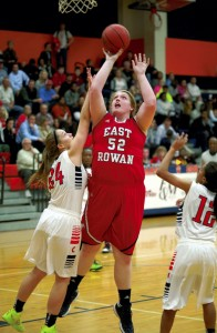 JON C. LAKEY / SALISBURY POST East Rowan's Kelli Fisher (52) shoots over Carson's Alex Allen (24).