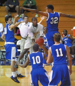 North's  Taheem Mungin #15 shoots underhanded again the Mooresville team.  photo by Wayne Hinshaw, for the Salisbury Post