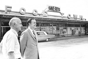 Wilson Smith and Ralph Ketner stand in front of the first Food Town store in the Ketner Center.