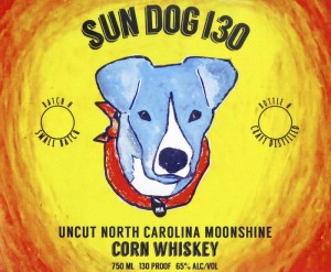 """This is the label for Southern Grace Distilleries' 130-proof corn whiskey called """"Sun Dog 130."""""""