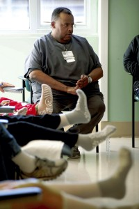 James Miles works with orthopedic patients at Joynt  Camp.