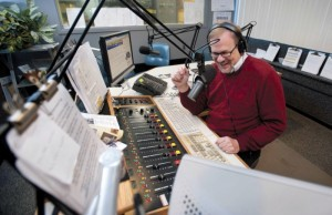 JON C. LAKEY / SALISBURY POST  Kent Bernhardt laughs during on air conversation with one of the callers. Bernhardt and Howard Platt have been filling the morning Salisbury airwaves with their 3 hour Kent and Howard in the Morning show on WSTP. Friday may be the last day that show will be on the air as the radio station operations transistions over to the new owners. Wednesday, February 25, 2015, in Salisbury, N.C.