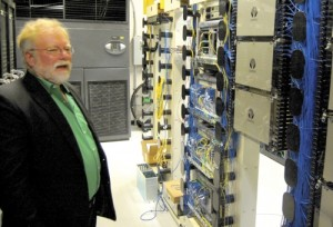 Kent Winrich, Salisbury's director of Fibrant, talks about the different sections of the network's infrastructure in the Network Operations Center, called the NOC, in Salisbury's Customer Service Center.