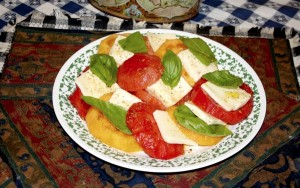 Deirdre Parker Smith/Salisbury Post A summertime favorite, ripe tomatoes, mozzarella cheese and leaves of basil. It goes with everything or can be a meal itself.