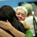 West Rowan Middle School Principal Nancy Barkemeyer, right, gets emotional as she hugs sixth-grade math teacher Elizabeth Henley — who Barkemeyer hired in 2008 — on the last day of school. Jon C. Lakey/Salisbury Post