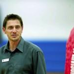 Richard Reinholz talks to kids in the gym at the Hurley Y. JON C. LAKEY / SALISBURY POST