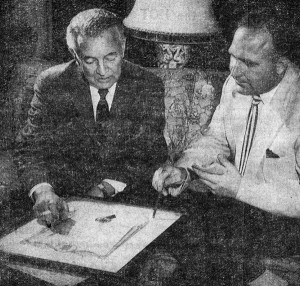 Submitted photo   In this clipping from 1957, Salisbury actor Sidney Blackmer, left, looks at the scroll he received for the coveted Billboard Donaldson award in recognition for his work in Broadway's 'Come Back, Little Sheba.' The reporter on the right is Bill Maultsby.
