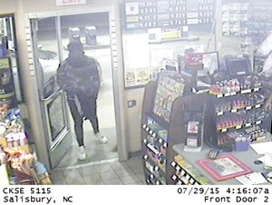 Submitted photo One of the men in the Circle K robbery was wearing a black T-shirt over his head.