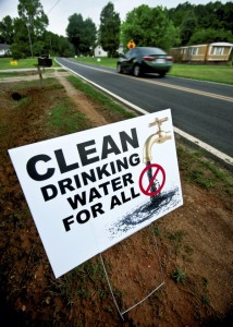 Residents long Leonard Road in close proximity to site of Buck Station have placed signs in their yards asking for clean drinking water. A coal ash pond is located nearby and area wells are said to be contaminated with materials thought to come from the ponds.