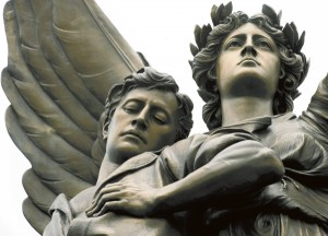 The Confederate Memorial statue of 'Fame,' the angel holding a fallen soldier, was dedicated in 1909 by the Hoke Chapter of the United Daughters of the Confederacy.  Jon C. Lakey/Salisbury Post file photo