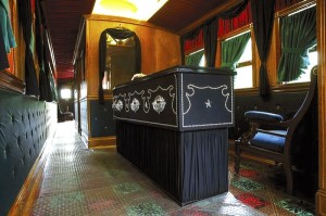 Lincoln's casket rests at one of of the re-built Lincoln Funeral Car. Ted Schurter/The State Journal-Register