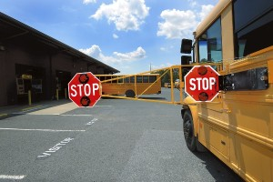 The Rowan-Salisbury Schools Transportation has added an 4 foot extension to the stop arms this year on 10 of the buses.  The arm will extend out over the other lane of traffic and will most likely hit a car if the car passes the stopped bus.  photo by Wayne Hinshaw, for the Salisbury Post