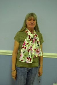 Kathy Johnson of Mt. Moriah models one of the women's finished scarves.
