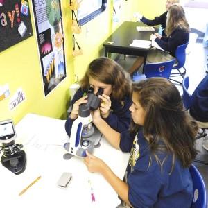 Sacred Heart seventh-graders conducted experiments aboard the Rowan-Salisbury Schools STEM bus.