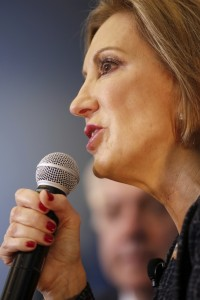 Republican presidential candidate, businesswoman Carly Fiorina, speaks to South Carolina residents during a town hall meeting concerning foreign affairs at Johnson Hagood Stadium on the campus of The Citadel in Charleston, S.C., Tuesda. (AP Photo/Mic Smith)