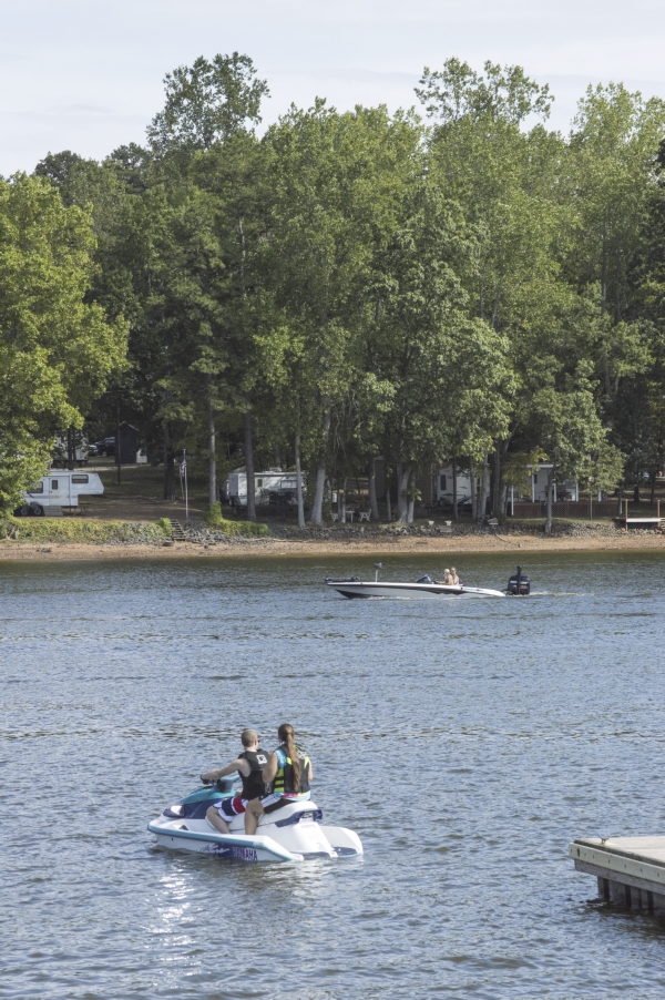 Josh Bergeron / Salisbury Post - A jetski prepares to take off from the dock Sunday at High Rock Lake. The lake was filled with boaters during Labor Day weekend.