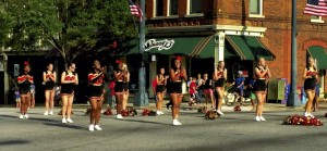 Submitted photo the SHS cheerleaders pause at the Square for a cheer.
