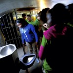 The students were amazed when they learned that a single sink/toilet combination was shared by four inmates in open view in a single cell.  Jon C. Lakey/Salisbury Post