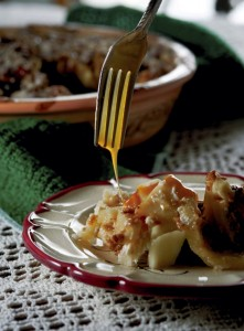 JON C. LAKEY / SALISBURY POST Simple fresh apple with a crumb crust drizzled with melted carmel. Fall is the time of the year that mouthwatering fresh apple dishes are inclined to be made. Wednesday, October 14, 2015, in Salisbury, N.C.