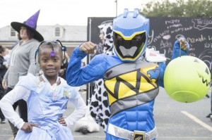Josh Bergeron / Salisbury Post - Khalil Wansley (right) and Ky'mari Davidson (left) show off their Halloween costumes Saturday during the Salisbury Parks and Recreation Department's fun fest.