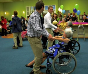 Anne Trice and Cindy Rentz enjoy a dance with their Catawba student partners