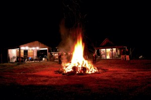 Bonfires help light the way and add warmth to the festival