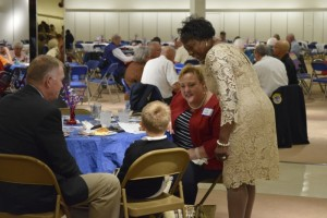 Thelma Luckey stops to chat with Hefner VA Medical Center Kaye Green and others who came out to the veterans appreciation dinner in 2015