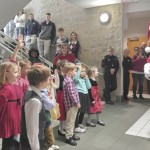 The North Hills Christian School kindergarten students got a surprise visit from Santa during their caroling at the Rowan County courthouse. Shavonne Walker/Salisbury Post