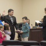 China Grove Mayor Lee Withers takes the oath of office Tuesday during the town council meeting. Withers takes over the mayor position from Don Bringle, who served for 12 years.  Josh Bergeron / Salisbury Post
