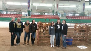 The South Rowan FFA Dairy Judging teams competed in the state dairy judging competition in November. Left to right: Senior team members: Brooke Lowery, Kaitlyn Wood, Katelyn Goodman, Cheyenne Hunter; Junior team members: Rachel Sosna, Elizabeth Villeneuve, Riley Corriher