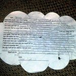 The cloud-shaped note Cayden Usher wrote to his late brother Jacob has a couple of holes in it and the writing is a little smudged, but it's otherwise intact after the journey that ended in a Davidson County pasture. Amanda Raymond/Salisbury Post