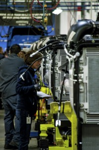 A Freightliner employee works at the Cleveland plant on National Manufacturing Day in October 2015, when the company hosted a celebration and tours. Josh Bergeron/Salisbury Post