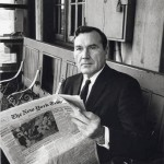 In this 1965 photograph taken by Guy Gillette in New York, actor Ralph Roberts of Salisbury looks up from his favorite newspaper, The Times.
