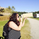 Salisbury Academy teacher Mariana Sanchez views the sky through a primitive camera made at The Whole Child in Nature conference. In this exercise, students use the camera to observe nature, then return to the group to reflect on what they saw and how light affected their experience. Submitted photo