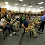 Gordon Snyder directs the students in his honors jazz class. Snyder says teaching students has allowed him to see music in a different way, even though he didn't initially plan on becoming a teacher. Jon C. Lakey/Salisbury Post