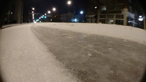 Josh Bergeron / Salisbury Post - Tire tracks split a field of snow on North Main Street in Salisbury.