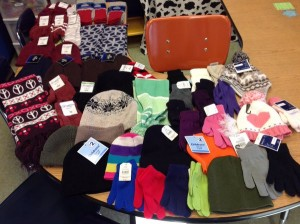 Hats, gloves, socks and scarves collected by Kellie Haff's first grade class will go to those in need at Main Street Mission.