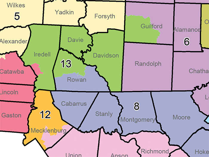 A map approved by the N.C. Senate on Thursday would split Rowan County between the 8th and 13th congressional districts.