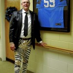 Bill Johnson, executive director of the campus, made his own replica of the pants that quarterback Cam Newton recently made news for wearing. Staff members and residents of the Lutheran Home at Trinity Oaks participated in a spirit week in support of the Carolina Panthers football team.  Amanda Raymond/Salisbury Post