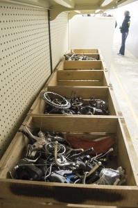Josh Bergeron / Salisbury Post - Spare parts sit in boxes inside of The Pedal Factory's store on South Main Street in Salisbury.