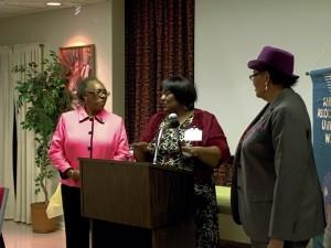 East Spencer Mayor Barbara Mallett (left), AAUW V.P. Dr. Patricia Trueblood (center), Congresswoman Alma Adams (right).