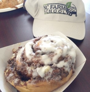 Cooperative Extension A cinnamon bun as big as your head was a treat served on the Farm School tour.