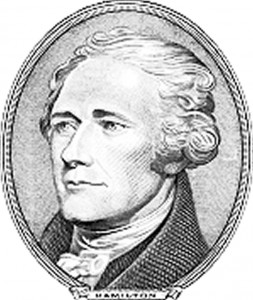 Alexander Hamilton, first Secretary of the Treasury from 1789-95, as he is depicted on the $10 bill.
