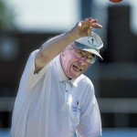 James Baird, 87, competes in the shot-put event at the Salisbury/Rowan Senior Games at Livingstone College in Salisbury on Tuesday.  Baird threw the shot-put ball at a distance of 10 feet and 4 inches.  Baird has competed in the games for 15 to 20 years. In August of 2015, Baird had open heart surgery and remained hospitalized for nine weeks undergoing treatment for infections. Despite his struggle to regain his health from the surgery, he was determined to compete in the games this year. Allison Lee Isley/Salisbury Post