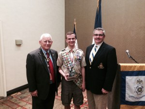 Left to right: Grady Hall, local SAR president, Marshall Brady and Stephen Thrasher, NCSSAR Eagle Scout Awards Chairman