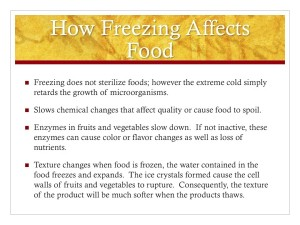 Cooperative Extension Another slide shows how freezing can affect food.