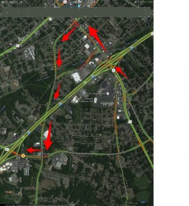 A second map of the closures scheduled next week with a detour route shown.
